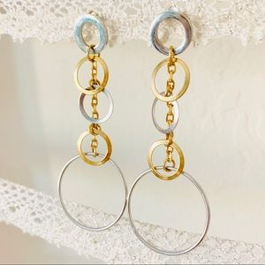 Modern stainless steel circle drop earrings